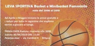 Leva Basket e Minibasket Femminile Prima data 6 aprile 2019 per le nate 2008